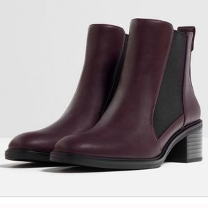 Zara Burgundy Vegan Leather Chelsea Boot